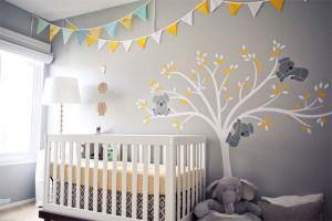 decoracion-habitacion-cuerto-bebe-banderines-mural
